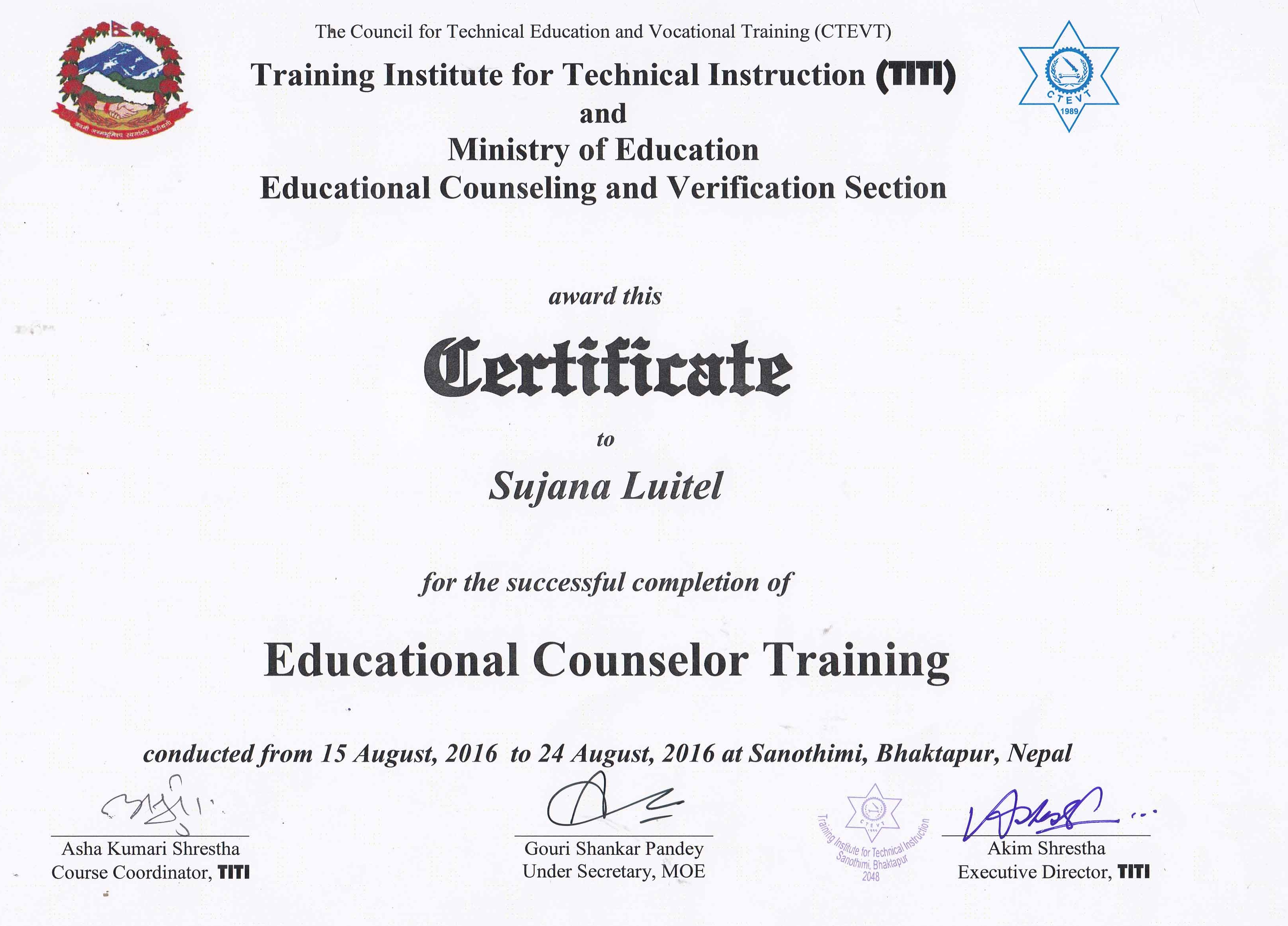 Certificate life track certified counsulers xflitez Choice Image